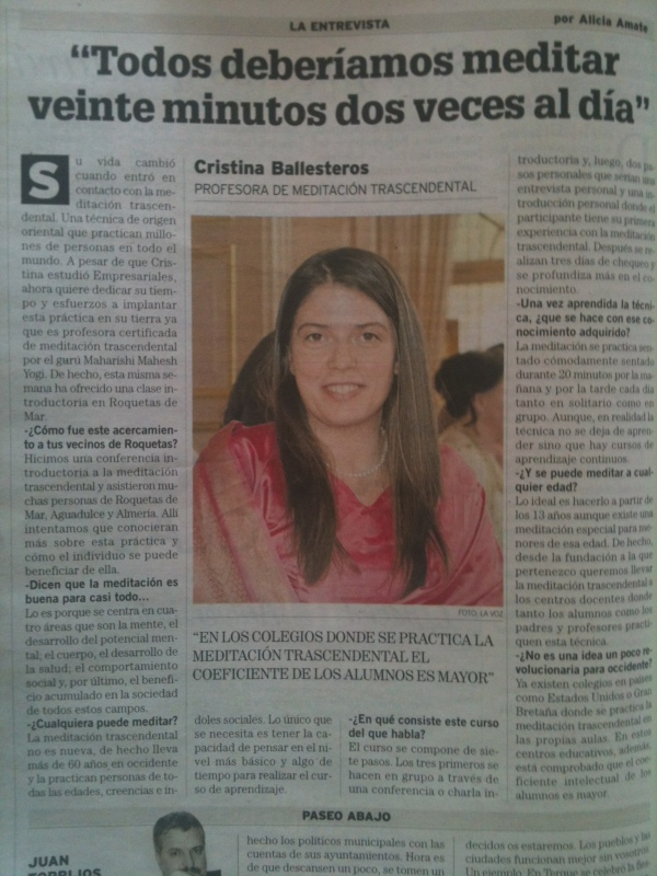 La voz de Almería publica hoy una entrevista sobre cursos de Meditación Trascendental en Almería con Cristina Ballesteros, Profesora de Meditación Trascendental. No te la pierdas!